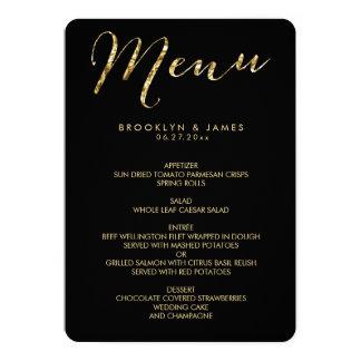 Round Elegant Black Wedding Menu With Gold Foil Card