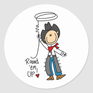 Round 'Em Up! Cowboy Stick Figure Sticker