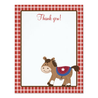 Round 'Em Up Western Horse 4x5 Flat Thank you note Card