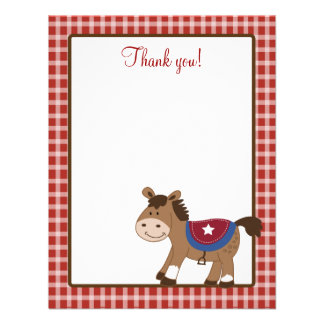 Round Em Up Western Horse 4x5 Flat Thank you note Announcement