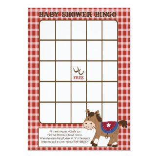 Round Em Up Western Horse Baby Shower Bingo Card