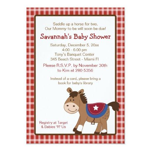 Round Em Up Western Horse Baby Shower Invitation