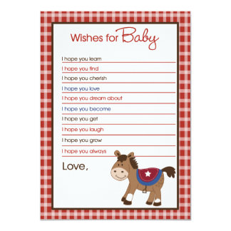 Round Em Up Western Horse Wishes For Baby Advice Card