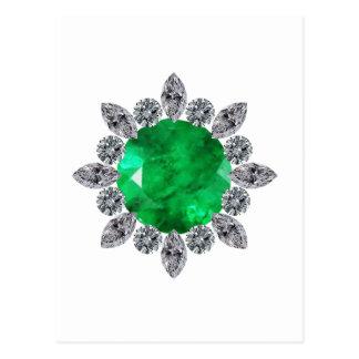 Round Emerald Brooch Postcard