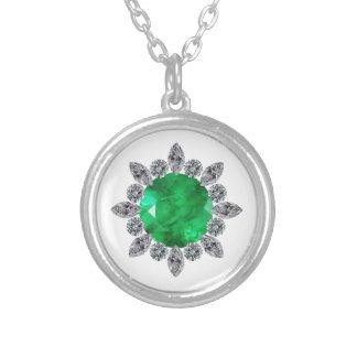 Round Emerald Brooch Round Pendant Necklace