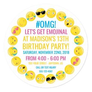 Round Emoji Birthday Party Invitation
