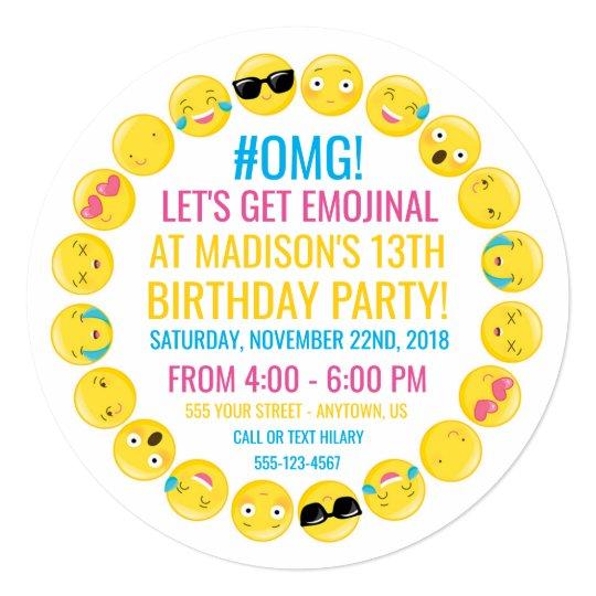 Round Emoji Birthday Party Invitation Zazzlecom