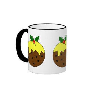 Round English Christmas Pudding Image Ringer Coffee Mug