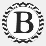 Round Envelope Seal with Monogram - Black & White Round Sticker