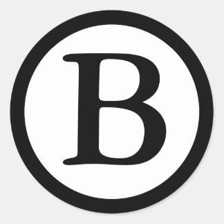 Round Envelope Seals with Monogram - Black Classic Round Sticker