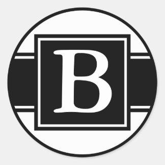Round Envelope Seals with Monogram - Black & White Classic Round Sticker