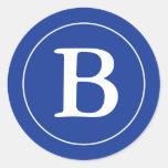 Round Envelope Seals with Monogram - Medium Blue Sticker
