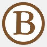 Round Envelope Seals with Monogram - Medium Brown Stickers