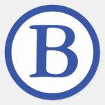 Round Envelope Seals with Monogram - Navy Blue Sticker