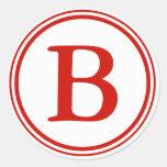 Round Envelope Seals with Monogram - Red & White Sticker