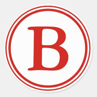 Round Envelope Seals with Monogram - Red & White Classic Round Sticker