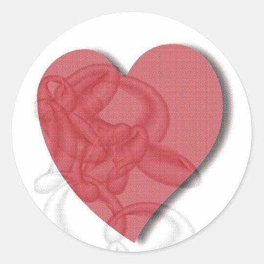 Round Enveloppe Sticker -Red Heart
