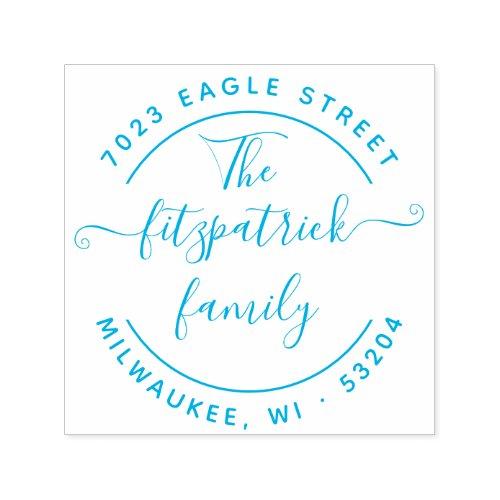 Round Family Name Return Address Rubber Stamp