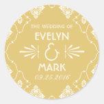 Round Favor Stickers | Art Deco Style