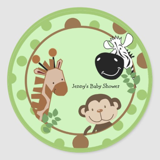 Round Favor Stickers - Jungle Adventure Animals