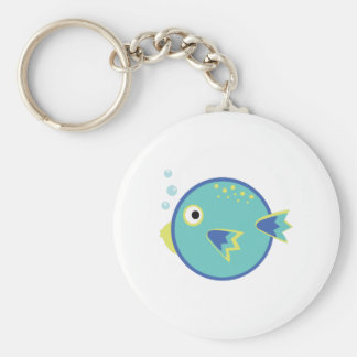 Round Fish Basic Round Button Keychain