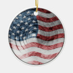 Round Flag Double-Sided Ceramic Round Christmas Ornament
