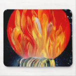 Round Flame Planet Waterfall Spray Painting Mouse Pads