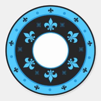 Round Fleur de Lis Stickers BLUE & BLACK