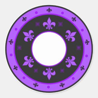 Round Fleur de Lis Stickers PURPLE