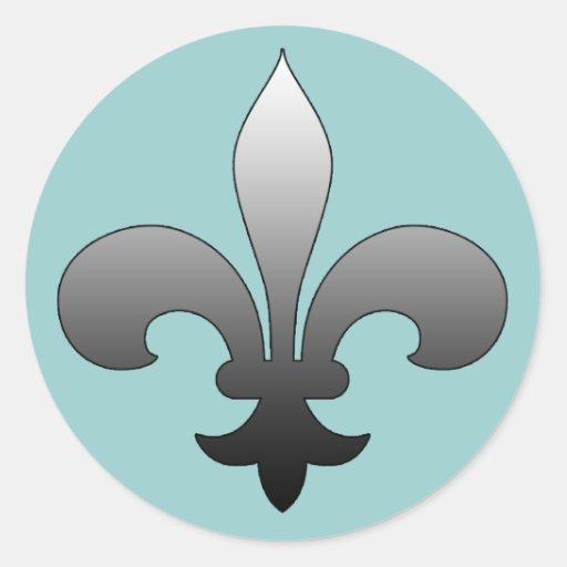 Round Fleur De Lis Stickers Silver Zazzle