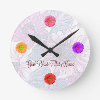 "Round Floral Clock with ""God Bless This Home"" Text"