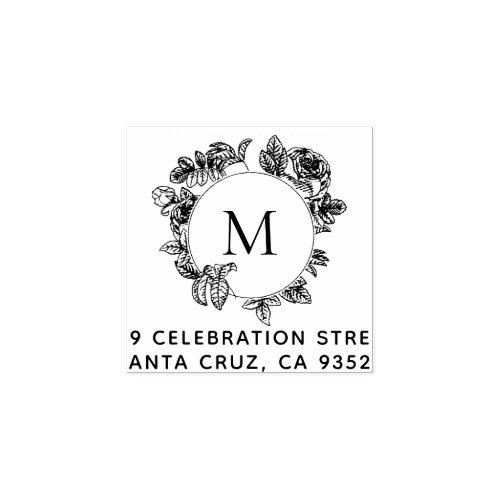 Round Floral Frame Monogram  Return Address Rubber Stamp