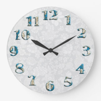 Round floral textile pattern with big numbers 19 wall clocks