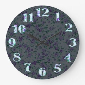 Round floral textile pattern with big numbers 20 wall clocks