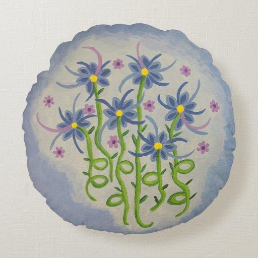 Round Floral Throw Pillow Zazzle