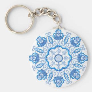 Round Flower Image Keychain