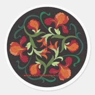 round flower print sticker