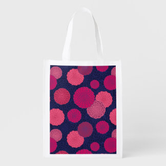 Round flowers pattern grocery bag