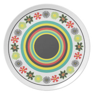 Round Flowers Red/green Melamine Plate