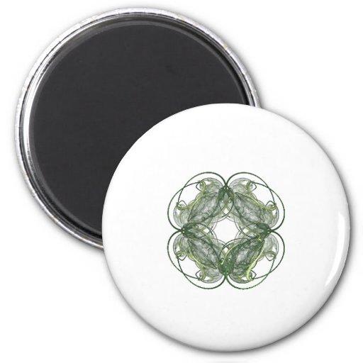 Round Four Leaf Clover Fractal Art 2 Inch Round Magnet