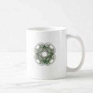 Round Four Leaf Clover Fractal Art Classic White Coffee Mug