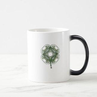 Round Four Leaf Clover Fractal Art 11 Oz Magic Heat Color-Changing Coffee Mug