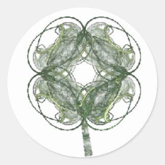 Round Four Leaf Clover Fractal Art Classic Round Sticker