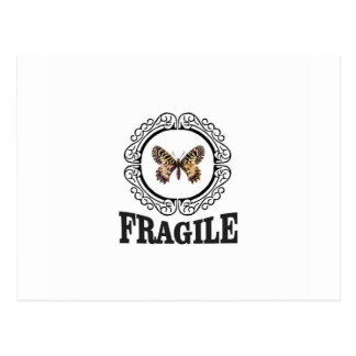 round fragile butterfly postcard
