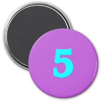 Round Fridge Magnet – Number 5 – Turquoise/Violet