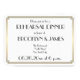 Round Gatsby Art Deco Wedding Rehearsal Invitation