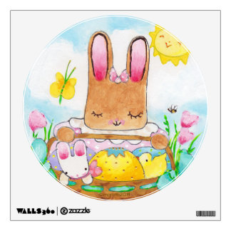 Round Girl Bunny with Easter Basket wall decal