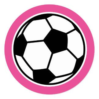 Round girls soccer Birthday party invitations