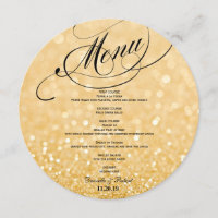 Round Glitter Wedding Dinner Menu Card For Plate
