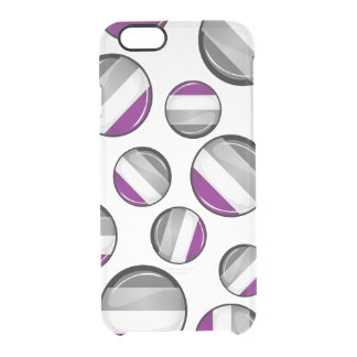 Round Glossy Asexual Pride Flag Clear iPhone 6/6S Case